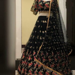 Beautiful Black Color Occasion Wear Fancy Net Embroidered Zari Thread Work Lehenga Choli for Women
