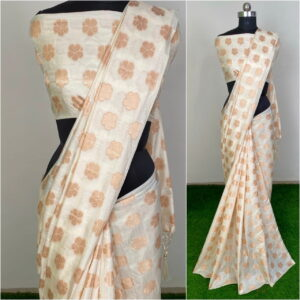 Comely Cream Color Sana Silk Fancy Jacquard Work Saree Blouse for Women