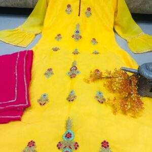 Ravishing Jazzy Yellow Color Festive Wear Georgette Thread Dori Hand Work Designer Sharara Salwar Suit for Women