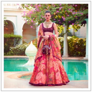 Wonderful Pink Color Wedding Wear Designer Organza Digital Printed Lehenga Choli for Women