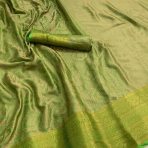 Glorious Green Color Party Wear Silk Banarasi All Over Zari Woven Border Saree Blouse for Women