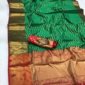 Smashing Rama Green Color Wedding Wear Banarasi SIlk Heavy Pallu All Over Zari Weaving Border Saree Blouse for Women