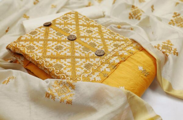 Remarkable Yellow Color Party Wear Cotton Designer Embroidered Work Fancy Salwar Suit for Women