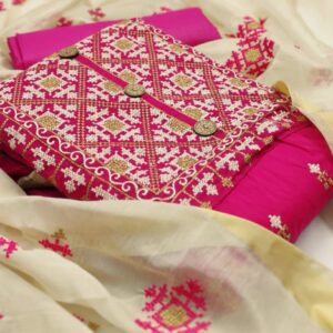 Astonishing Festive Wear Rani Pink Color Designer Cotton Embroidered Work Designer Salwar Suit for Women