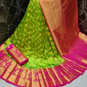 Marvellous Green Color Festive Wear Nylon Silk Dying Material Rich Pallu Saree Blouse for Women