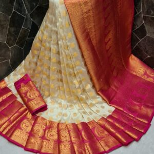 Comely Rani Pink Color Festival Wear Nylon Silk Dying Material Grand Pallu Saree Blouse Online for Women