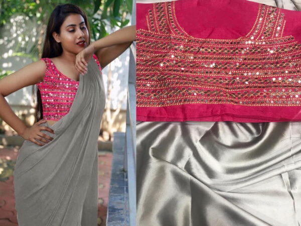 Glorious Grey Color Festive Wear Japan Satin Plain Saree Plastic Mirror Stone Embroidered Work Blouse for Women