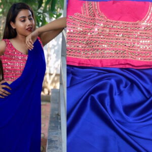 Captivating Royal Blue Color Designer Satin Japan Saree Fancy Mirror Embroidered Plastic Stone Work Blouse for Women