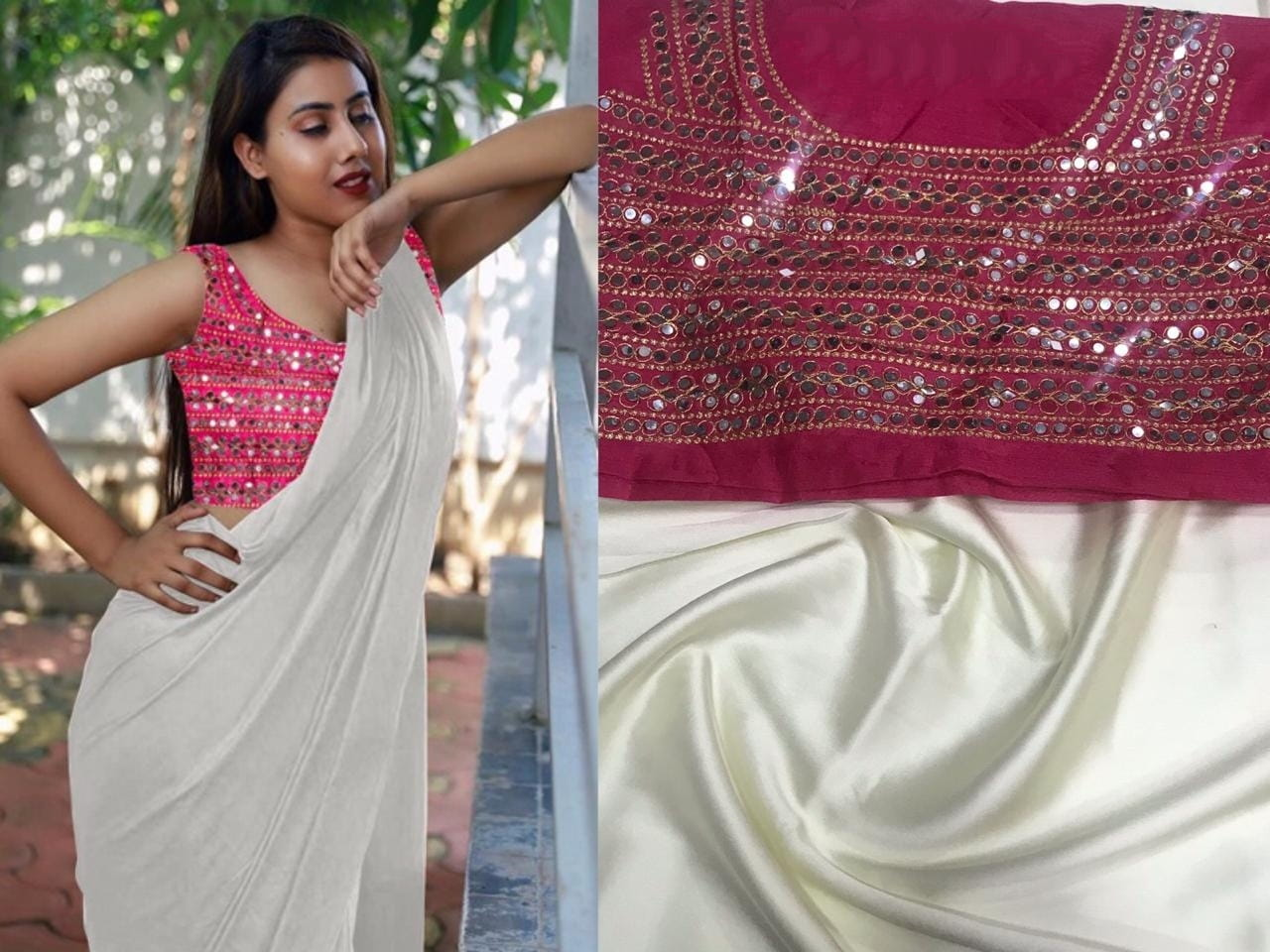 Bewitching White Color Function Wear Japan Satin Plain Saree Plastic Stone Embroidered Mirror Work Blouse for Women