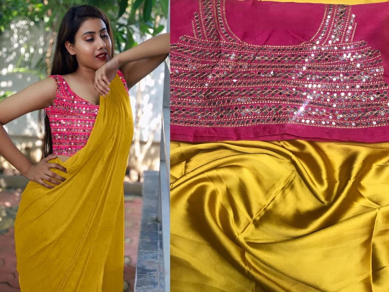 Alluring Mustard Color Festive Wear Japan Satin Plain Saree Fancy Embroidered Mirror Plastic Mirror Work Blouse for Women
