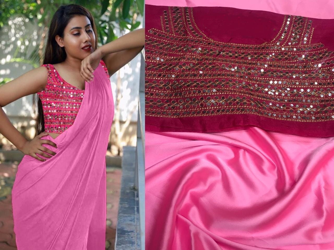 Exquisite Light Pink Color Plain Satin Japan Saree Embroidered Plastic Stone Mirror Work Blouse for Women