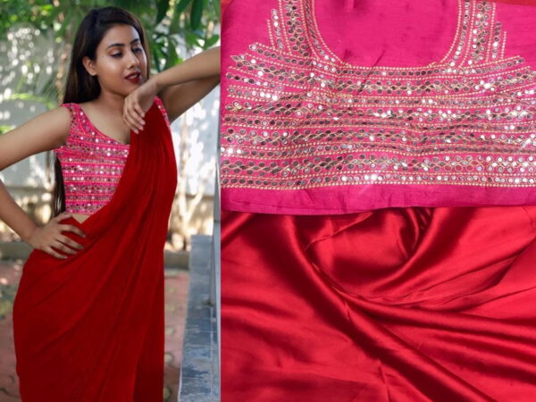 Gorgeous Red Color Party Wear Satin Japan Plain Saree Fancy Plastic Mirror Stone Embroidered Work Blouse for Women