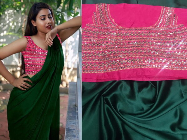 Amazeballs Dark Green Color Occasion Wear Plain Satin Japan Saree Designer Embroidered Mirror Stone Plastic Work Blouse for Women