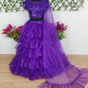 Extraordinary Violet Color Full Stitched Designer Tissue Net Ruffle Sequence Work Lehenga Choli for Women