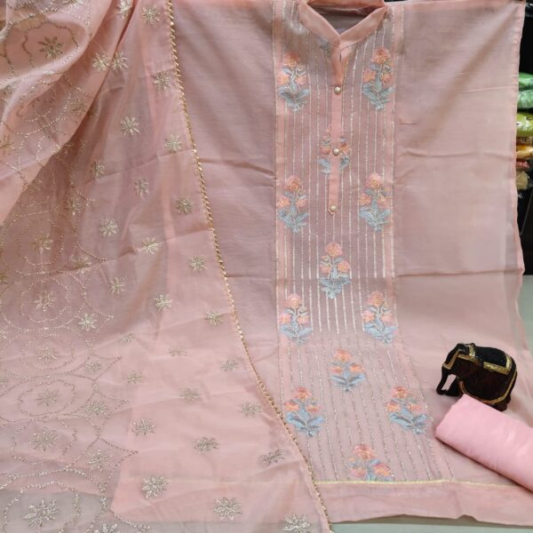 Staggering Peach Color Fancy Modal Chanderi Embroidered Neck Work Salwar Suit for Women