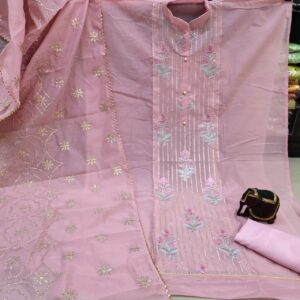 Incredible Baby Pink Color Designer Modal Chanderi Neck Embroidered Panel Party Wear Salwar Suit for Women