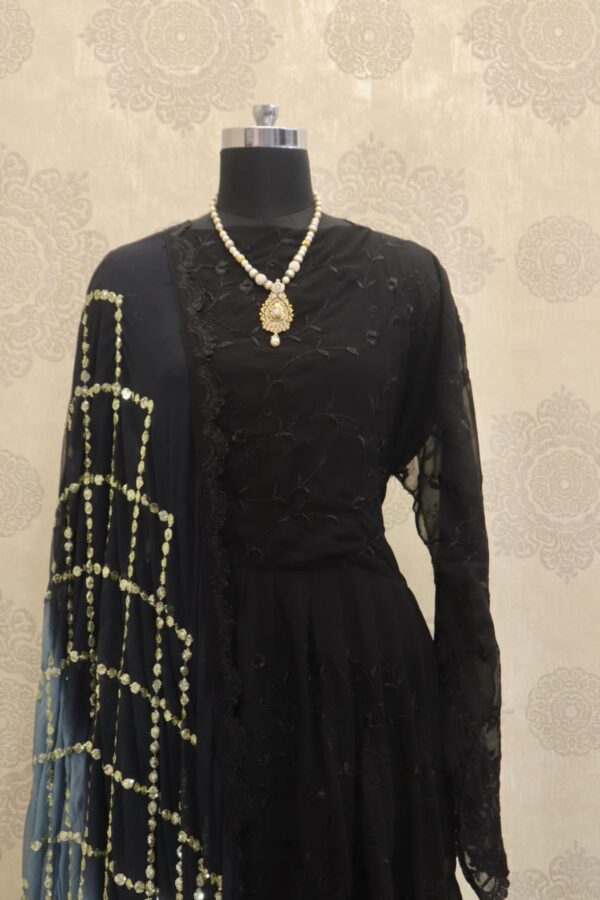 Outstanding Black Color Festive Wear Georgette Embroidered Work Salwar Suit for Women