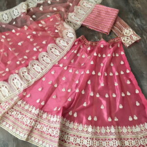 Amazing Wedding Wear Pink Color Designer Net Lucknowi Work Lehenga Choli for Women