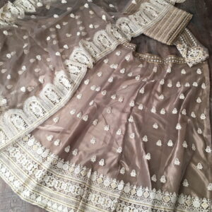 Phenomenal Beige Color Festive Wear Net Lucknowi Work Designer Lehenga Choli for Women