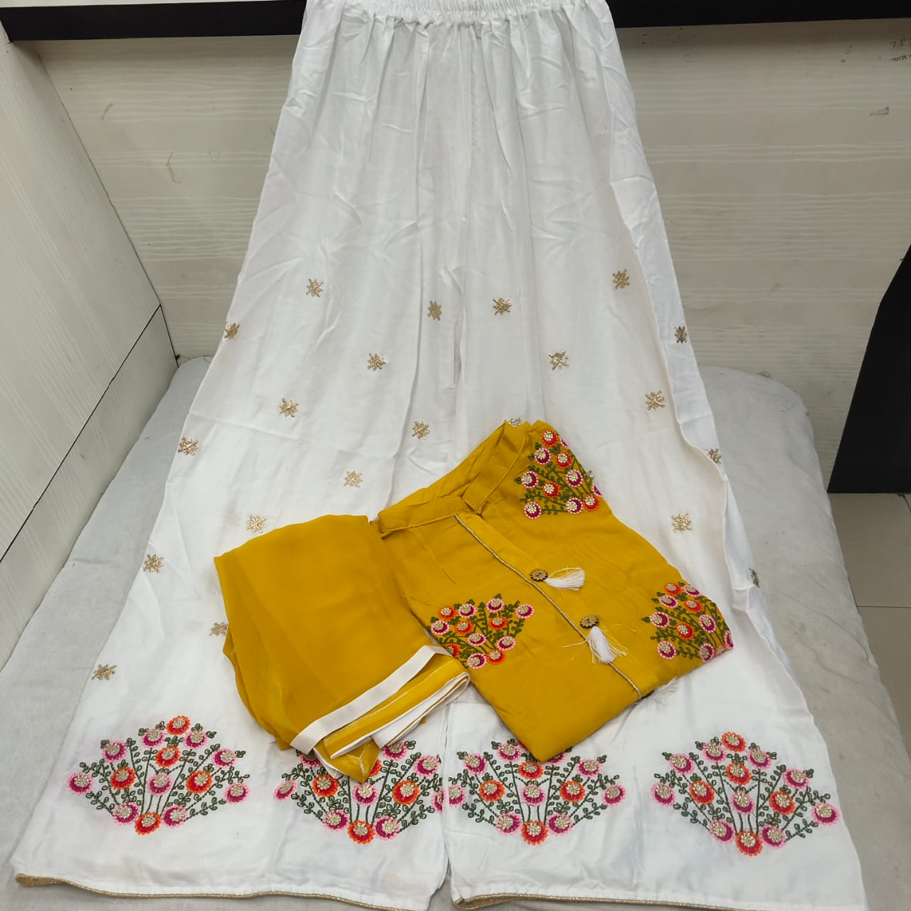 Pretty Mustard Color Ready Made Party Wear Rayon Jhumkha Button Embroidered Work Plazo Salwar Suit for Women