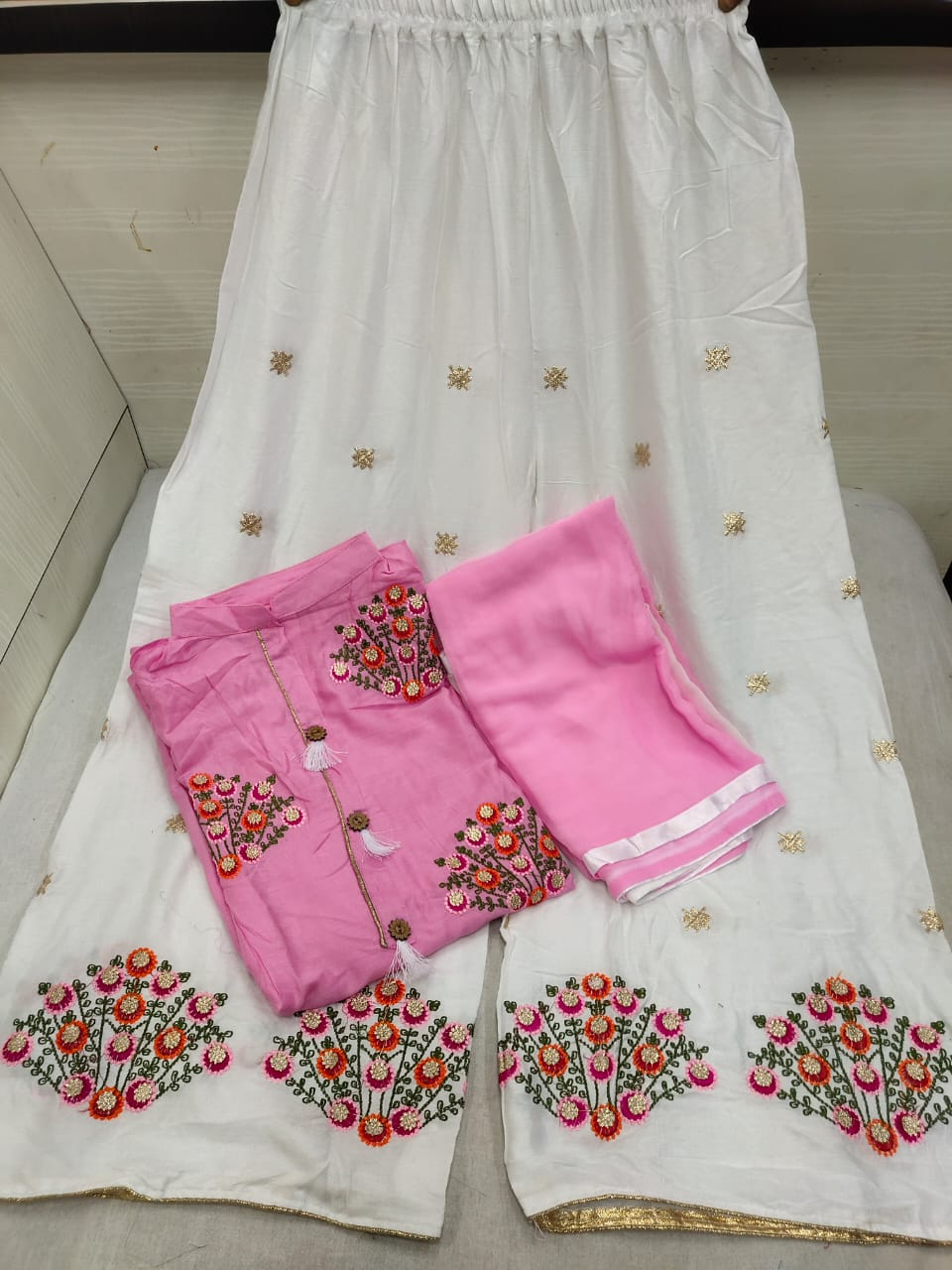 Radiant Light Pink Color Fancy Embroidered Work Rayon Jhumkha Button Ready Made Plazo Salwar Suit for Women