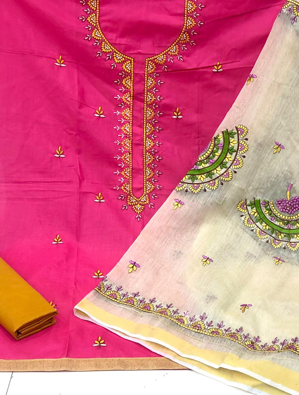 Dazzling Function Wear Pink Color Embroidered Work Cotton Pc Salwar Suit for Women