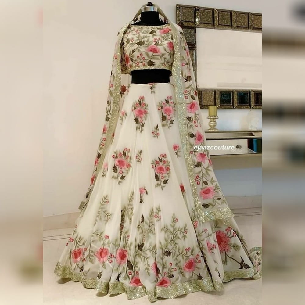 Wonderful White Color Sequence Work Georgette Digital Printed Lehenga Choli for Women