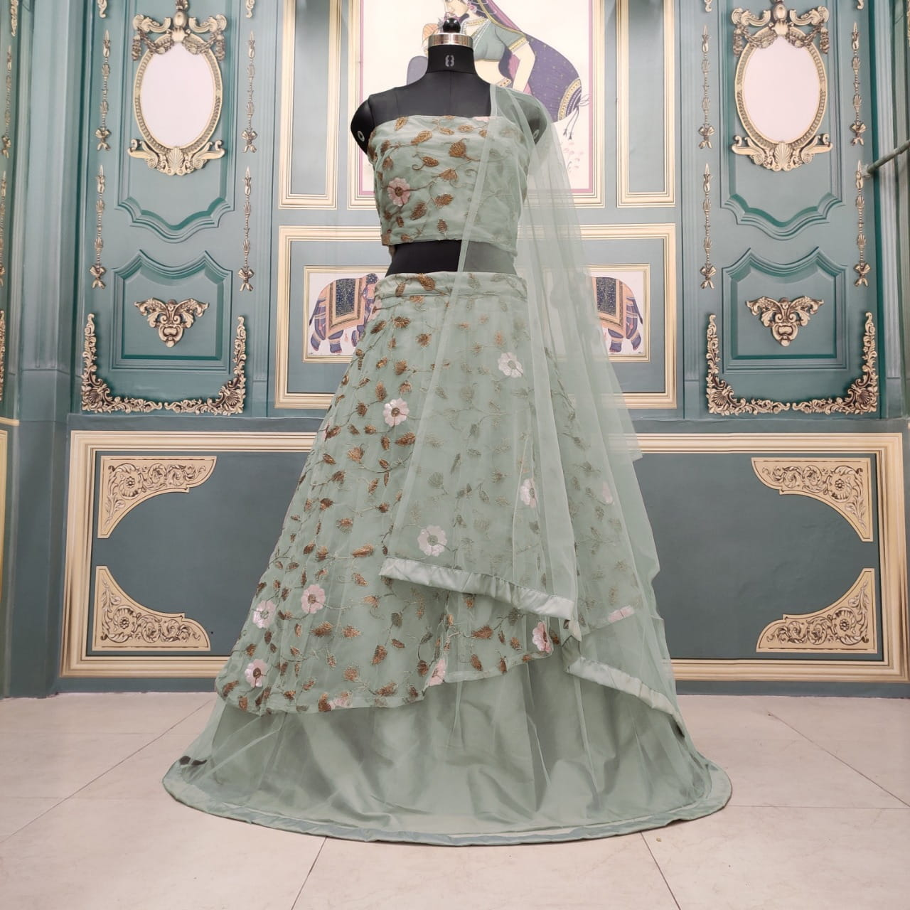 Magnificent Green Color Wedding Wear Net Sequence Embroidered Coding Work Lehenga Choli for Women
