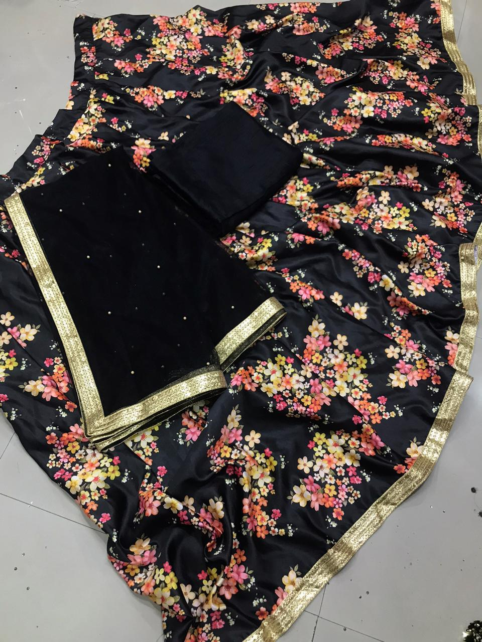 Glorious Black Color Function Wear Designer Japan Satin Silk Digital Printed Lehenga Choli for Women
