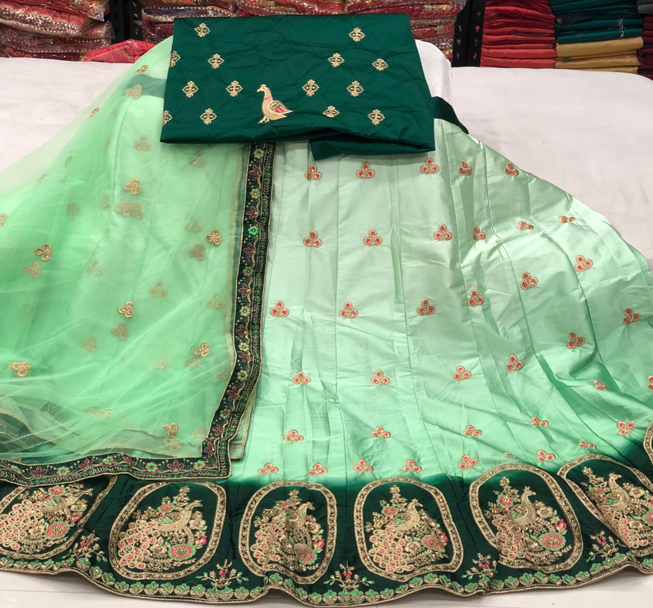 Charming Green Color Party Wear Thread Work Satin Silk Lehenga Choli for Women