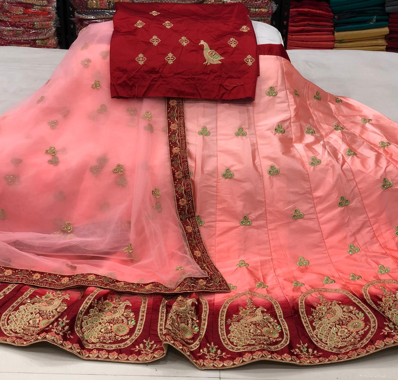 Alluring Peach Color Designer Thread Work Fancy Satin Silk Lehenga Choli for Women