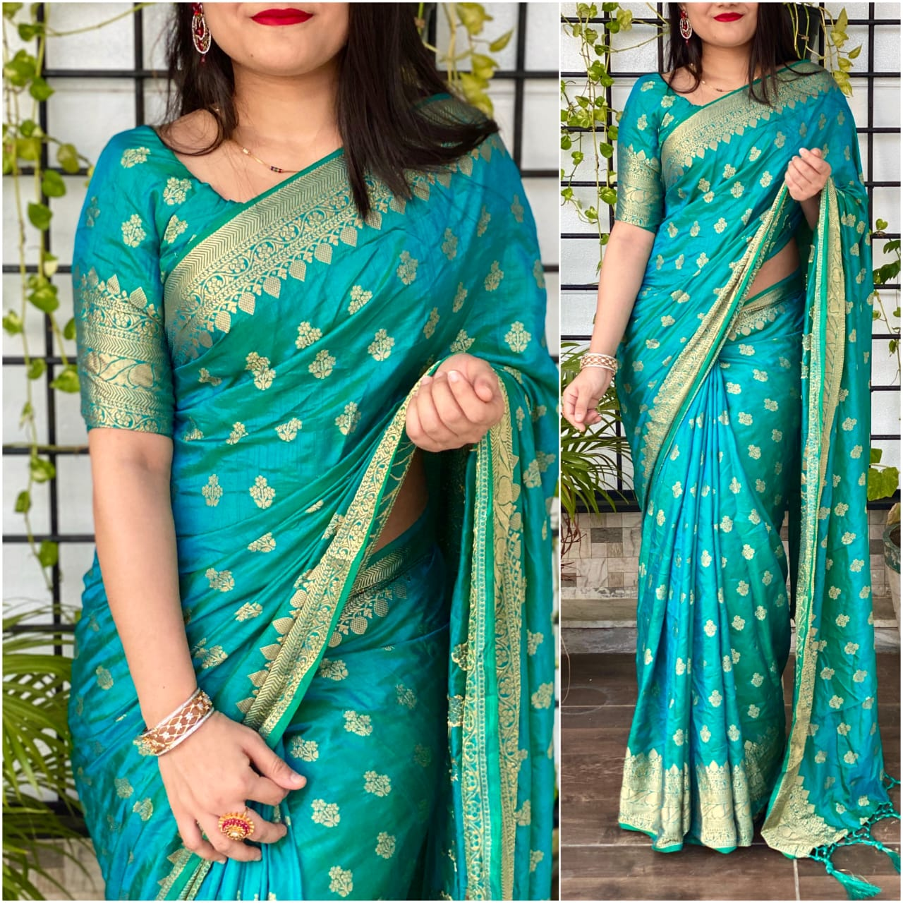 Knockout Rama Color Designer Jacquard Work Sana Silk Saree Blouse for Women