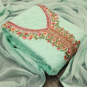 Beauteous Sea Green Color Festive Wear Georgette Multi Work Fancy Salwar Suit for Women