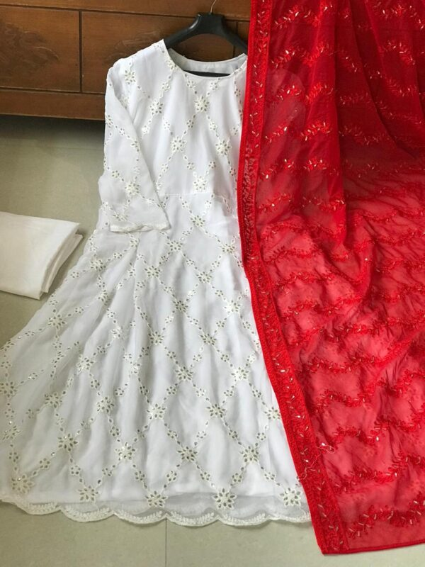 Staggering Festive Wear White Color Designer Georgette Chine Stitch Sequence Work Salwar Suit for Women