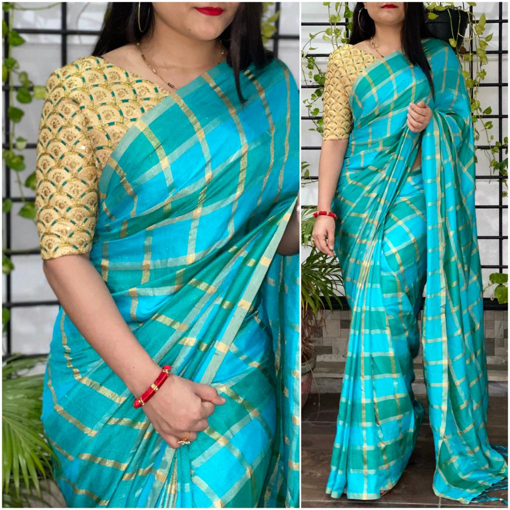 Incredible Firozi Color Wedding Wear Silk Fancy German Checks Design Saree Blouse for Women