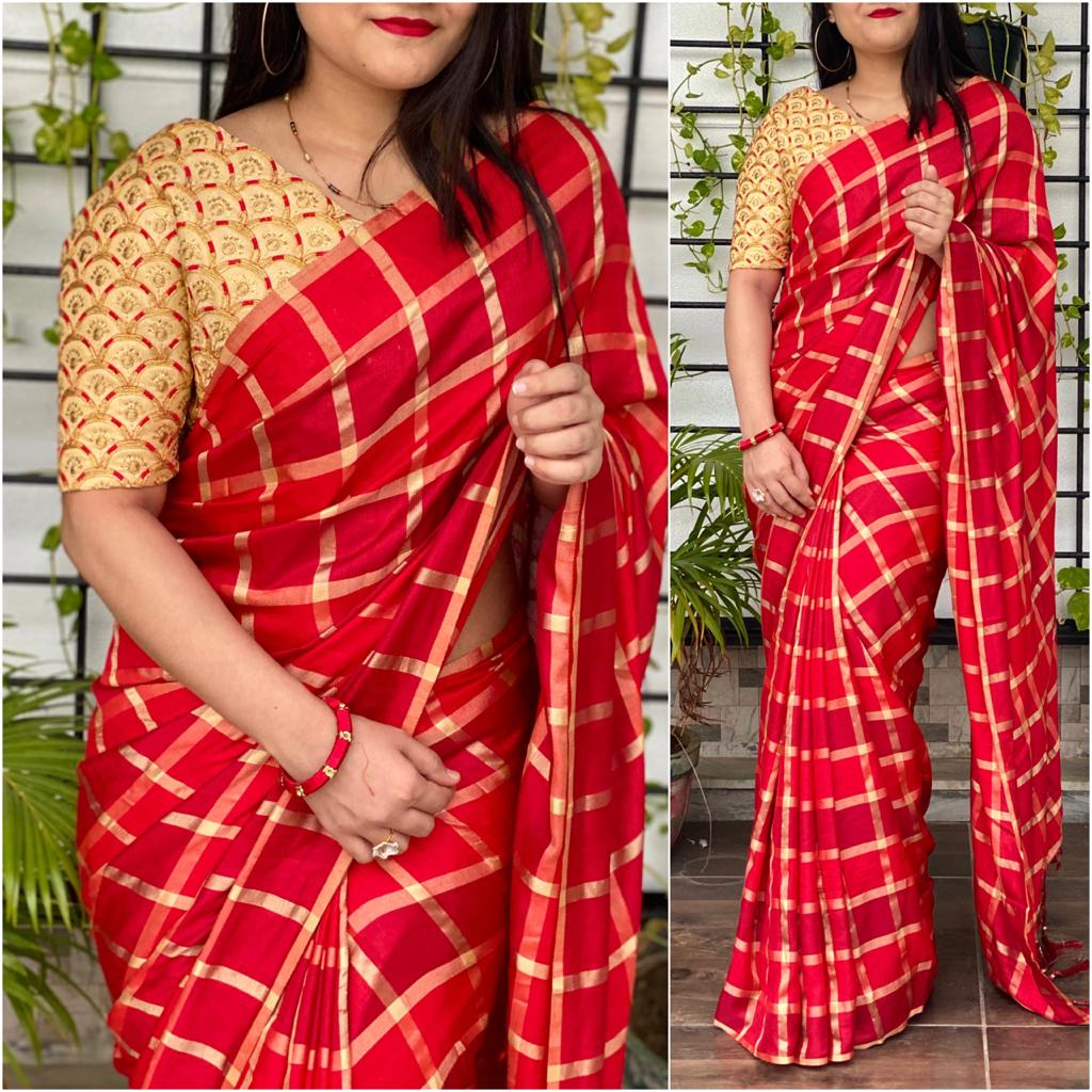 Impressive Red Color Festive Wear Checks German Designer Silk Saree Blouse for Women