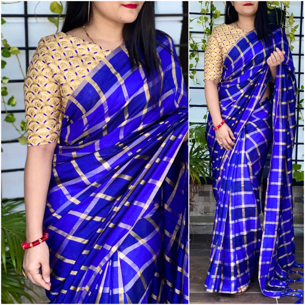 Outstanding Royal Blue Color Fancy German Checks Silk Party Wear Saree Blouse for Women