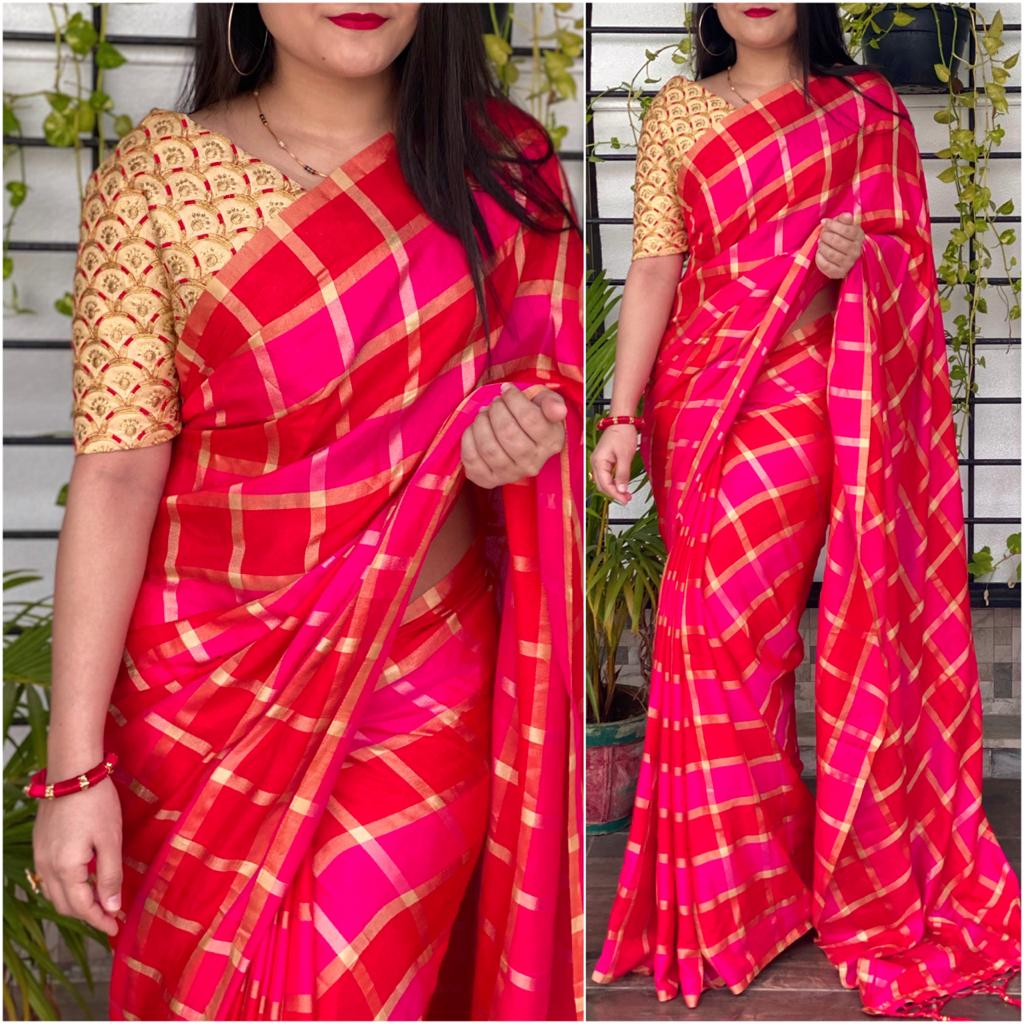 Amazing Rani Pink Color Designer German Checks Fancy Silk Saree Blouse for Women