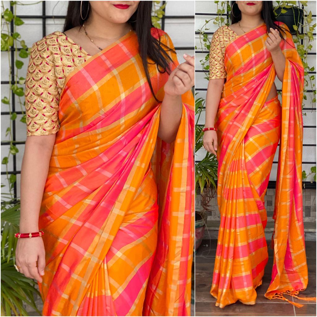 Astonishing Mustard Color Occasion Designer Checks German Design Silk Saree Blouse for Women