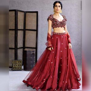 Maroon Color Wedding Wear Satin Georgette Designer Embroidered Work Lehenga Choli