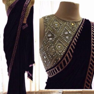 Black Color Festive Wear Fancy Georgette Coding Embroidered Work Designer Saree Blouse For Women