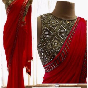 Red Color Function Wear Coding Embroidered Work Fancy Georgette Designer Saree Blouse