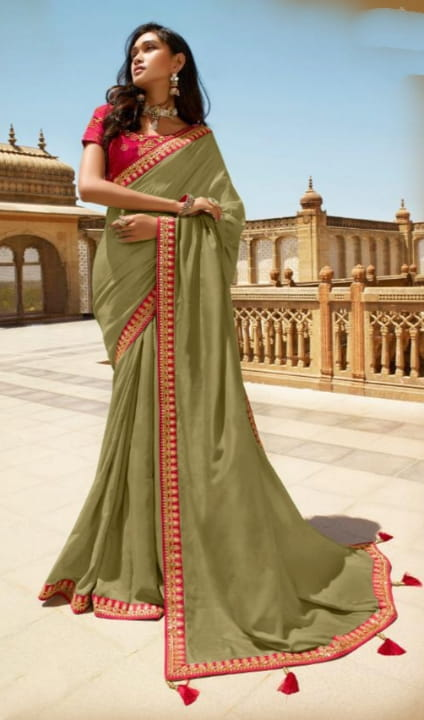 Mehendi Green Color Wear Vichitra Silk Beautiful Embroidered Work Designer Saree Blouse