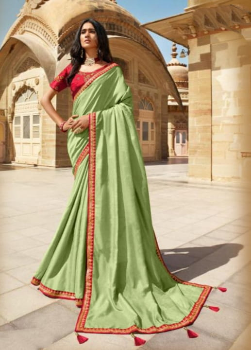 Green Color Party Wear Embroidered Work Vichitra Silk Designer Designer Saree Blouse For Ladies