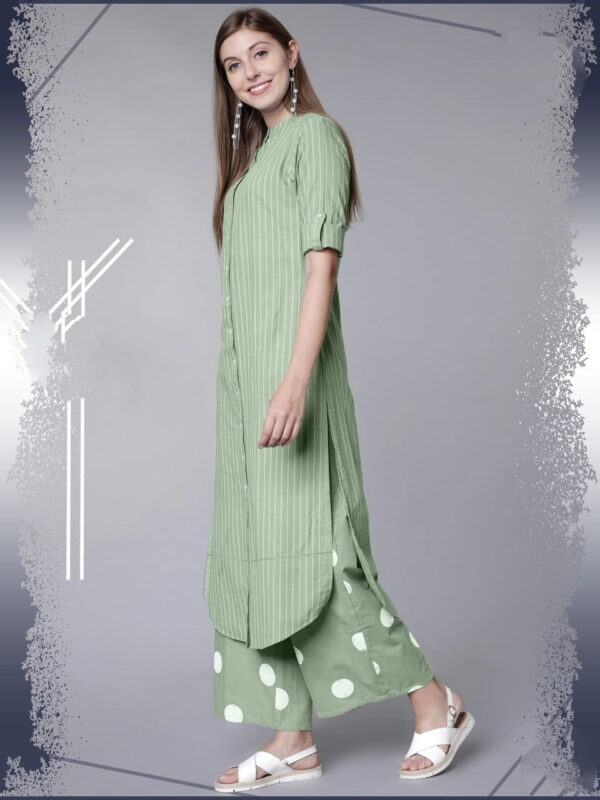 Light Green Color Designer Thread Work Cotton Rayon Full Stitched Kurti Plazo For Party Wear