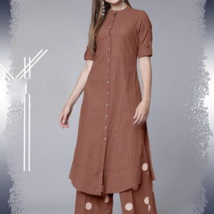 Brown Ready Made Cotton Thread Work Rayon Kurti Plazo For Festive Wear