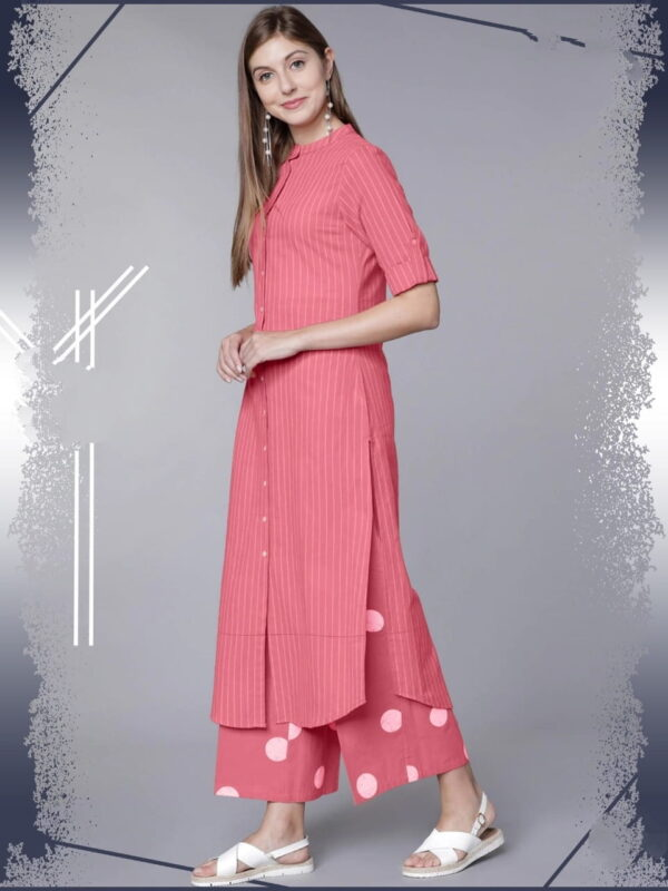 Pink Color Function Wear Ready Made Rayon Cotton Fancy Thread Work Plazo Kurti For Ladies