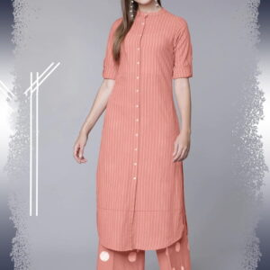 Peach Color Full Stitched Cotton Rayon Thread Work Designer Party Wear Plazo Kurti