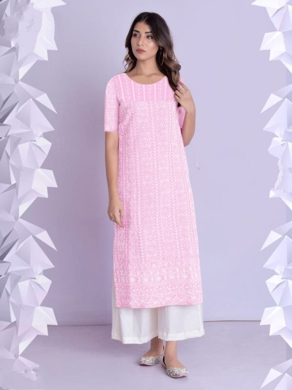 Baby Pink Color Full Stitched Cotton Rayon Fancy Thread Work Plazo Kurti For Party Wear