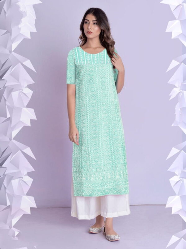 Sea Green Color Festive Wear Full Stitched Thread Work Beautiful Cotton Rayon Kurti Plazo For Ladies